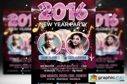 New Year Party Flyer Template 2 470472