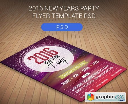 2016 New Year Party Flyer Template PSD