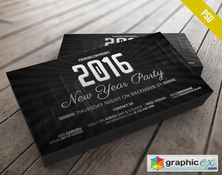 2016 New Year Party Invitation Card PSD Mockup