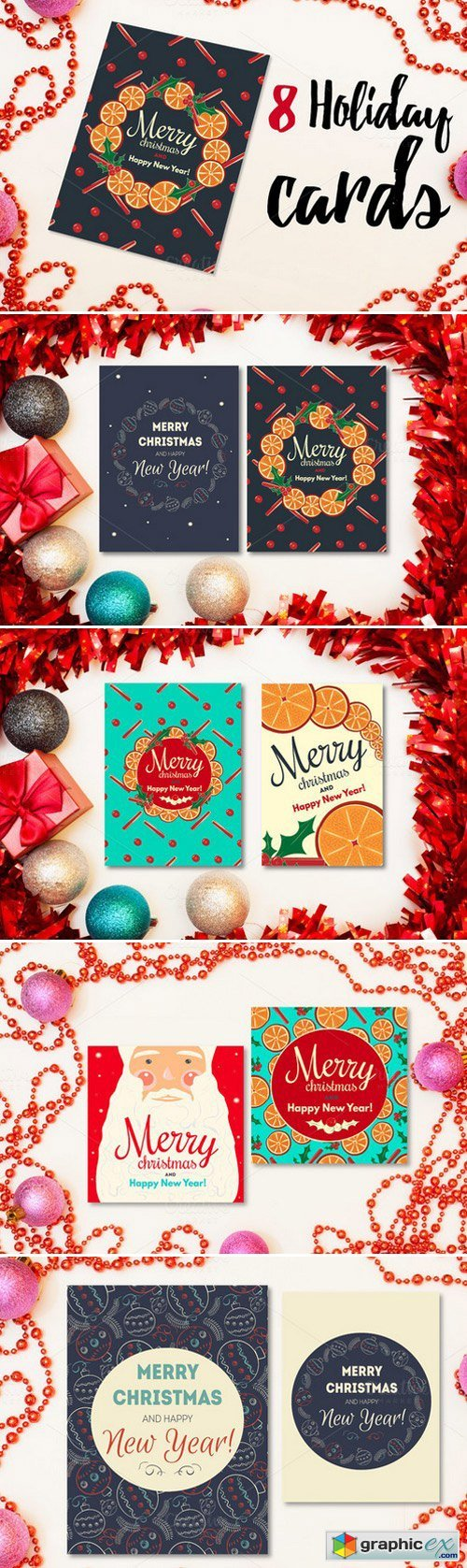 8 holiday cards with 3 patterns