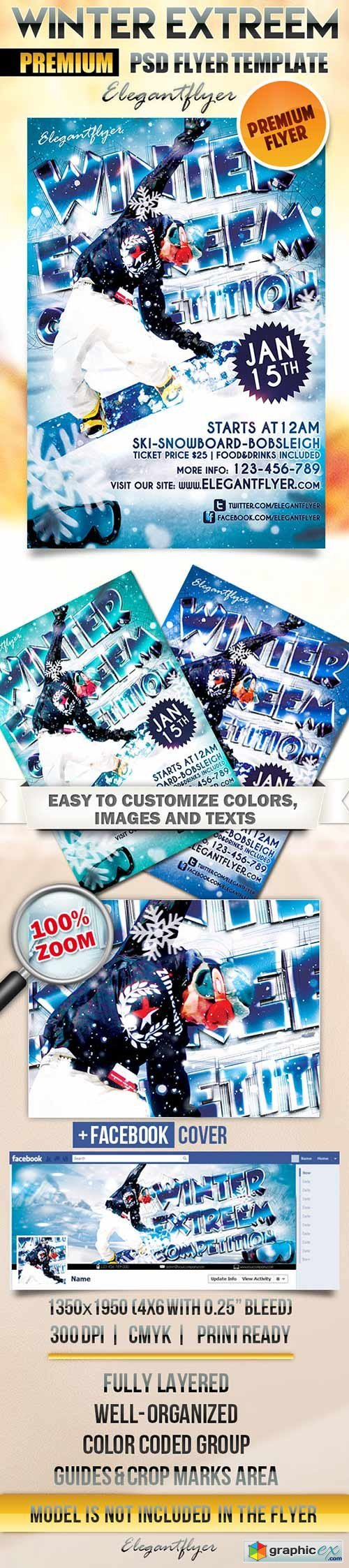 Winter Extreem Competition Flyer PSD Template + Facebook Cover