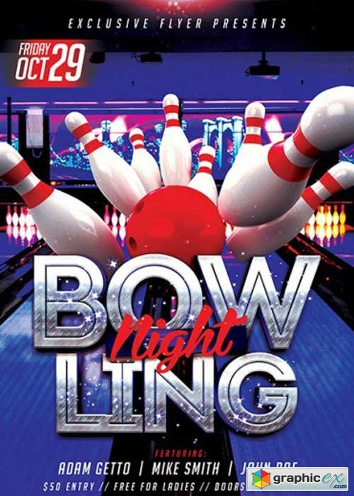 Bowling Premium Flyer Template + Facebook Cover