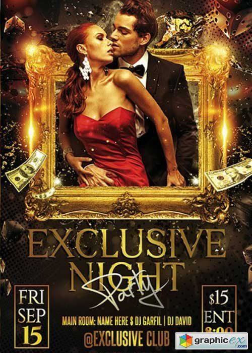 Exclusive Night Party Premium Flyer Template + Facebook Cover