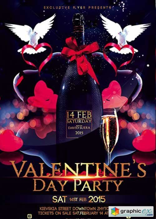 Valentines Day Party Premium Flyer Template + Facebook cover