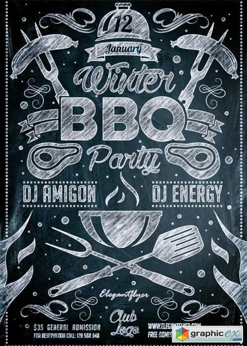Winter BBQ Party Flyer PSD Template + Facebook Cover
