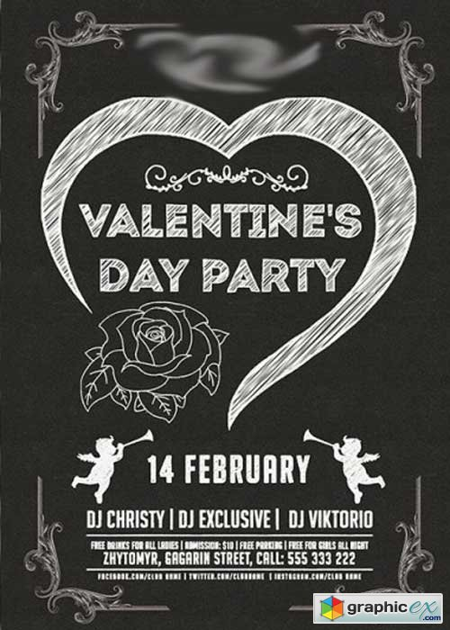 Minimal Valentines Day Party Premium Flyer Template