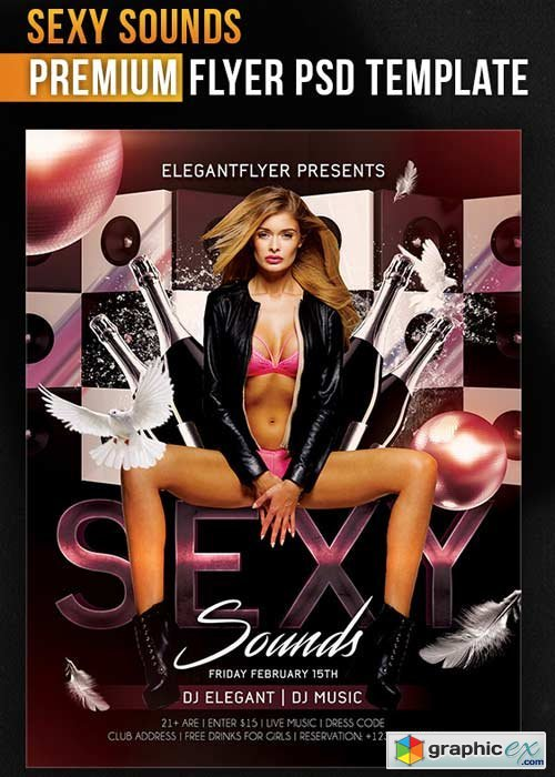 Sexy Sounds � Flyer PSD Template + Facebook Cover