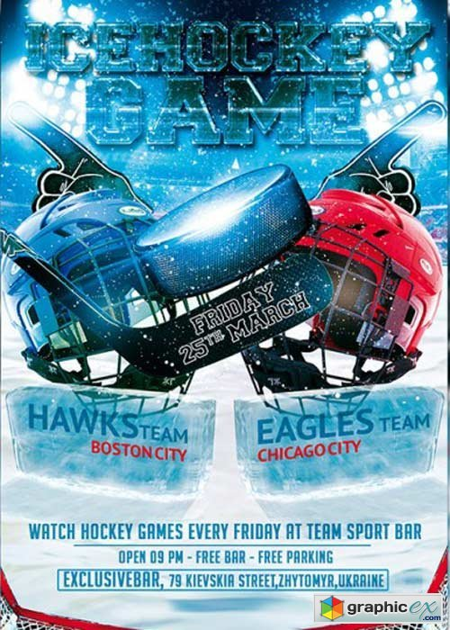 Ice Hockey Game Premium Flyer Template Free Download Vector Stock