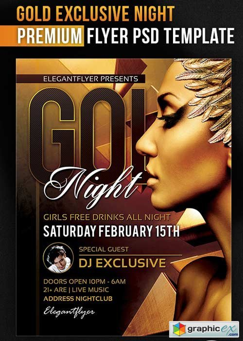 Gold Exclusive Night � Flyer PSD Template + Facebook Cover