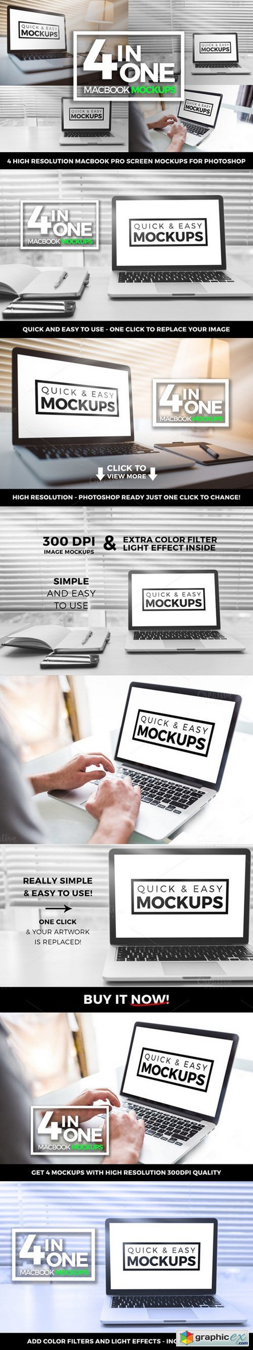 Macbook Pro Mockup Office 4 in one