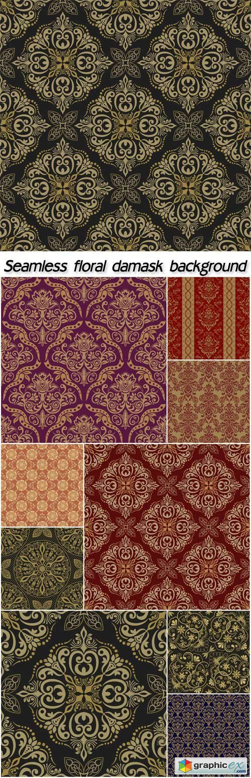 Seamless floral damask background vector, victorian style