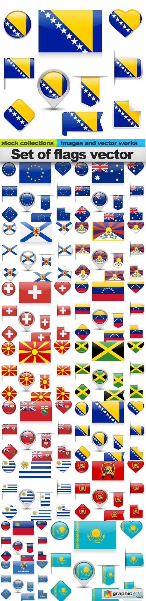 Set of flags vector, 15 x EPS