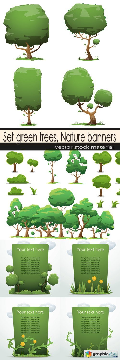 Set green trees, Nature banners