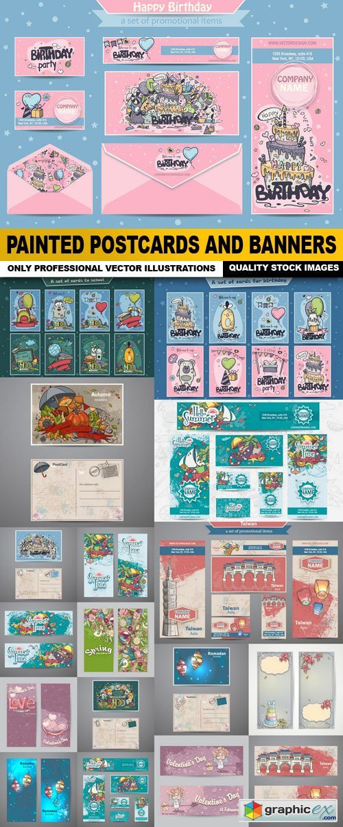 Painted Postcards And Banners - 18 Vector