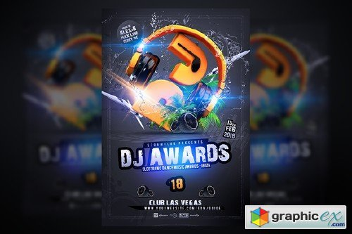 Dj Awards Flyer Template Free Download Vector Stock Image