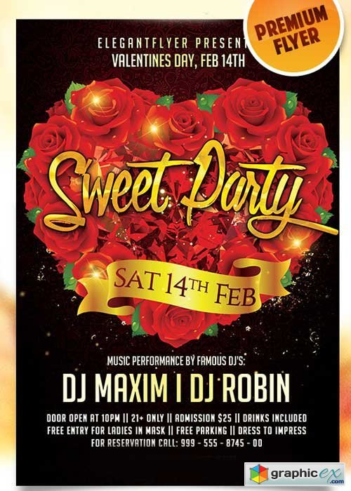 Sweet Party Flyer PSD Template + Facebook Cover