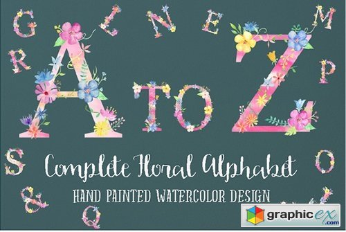 Pink Floral Alphabet A to Z