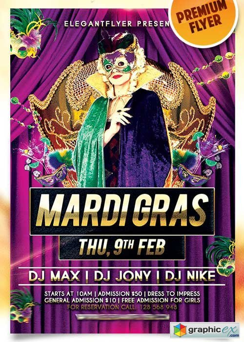 Mardi Gras Night � Flyer PSD Template + Facebook Cover