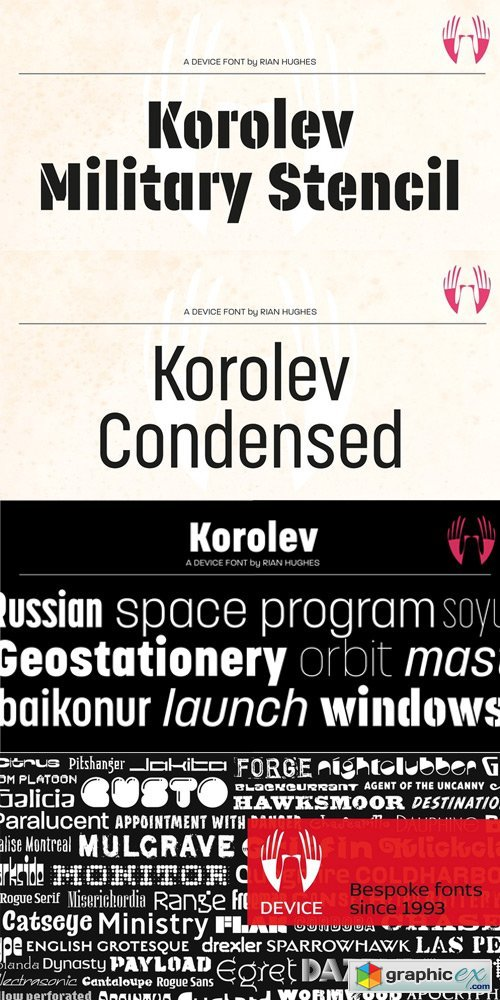 Korolev Military Stencil Font
