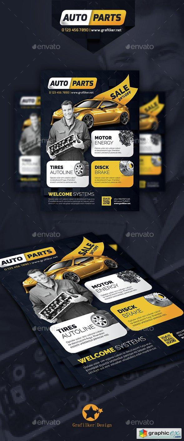 Auto Spare Parts Flyer Templates » Free Download Vector