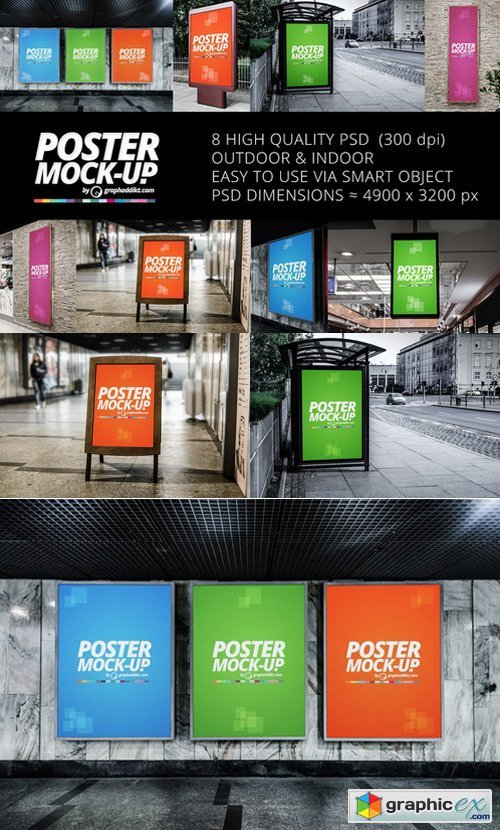 8 Poster mockups indoor & outdoor