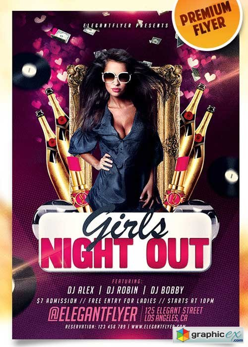 Girls Night Out Flyer PSD Template + Facebook Cover