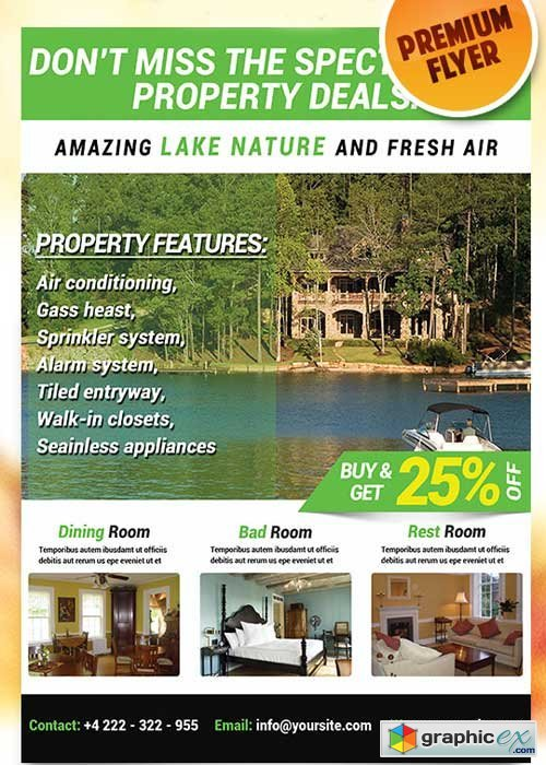Lakefront Property Flyer PSD Template + Facebook Cover