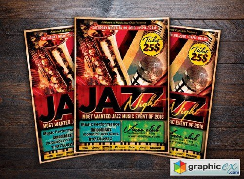 Jazz Night Concert Music Flyer