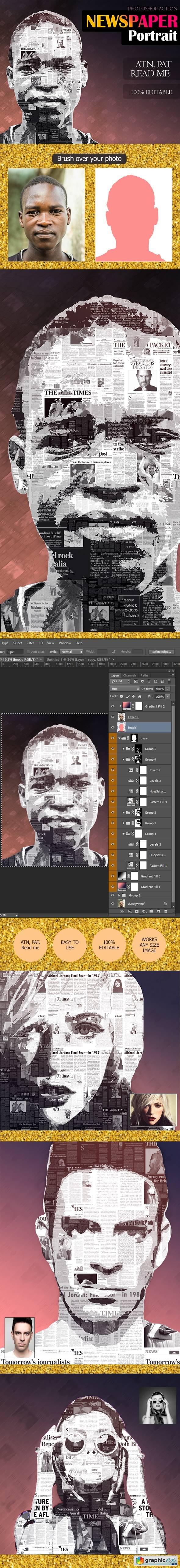 Newspaper Portrait Effect 13855434 » Free Download Vector
