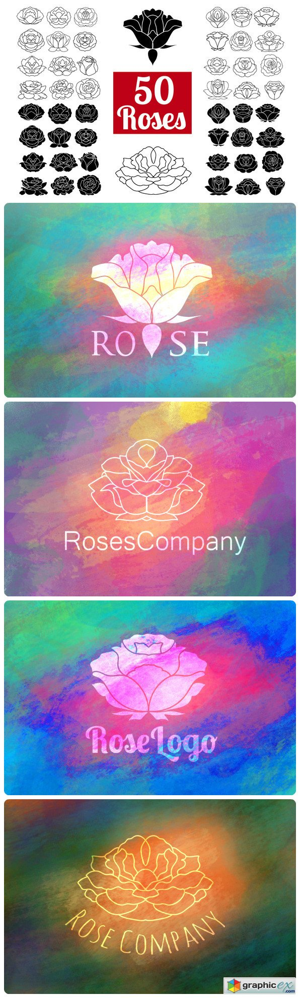 Download 50 Rose Flowers Logo Bundle » Free Download Vector Stock ...