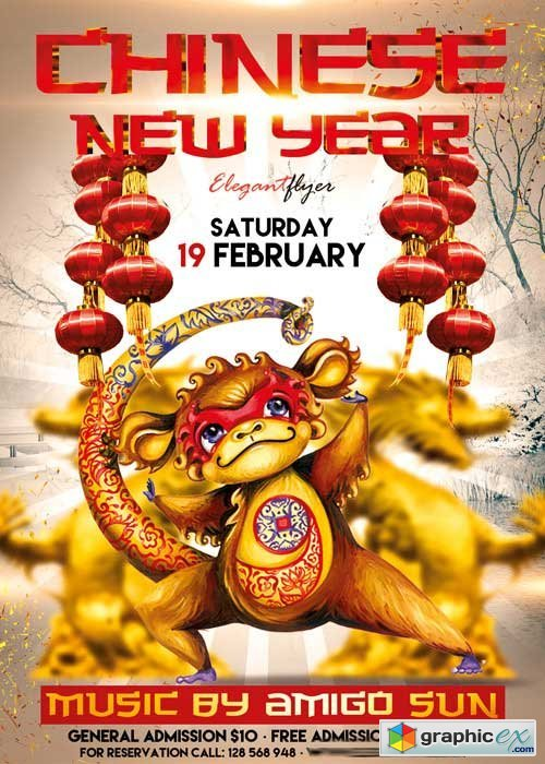 chinese new year v03 flyer psd template facebook cover