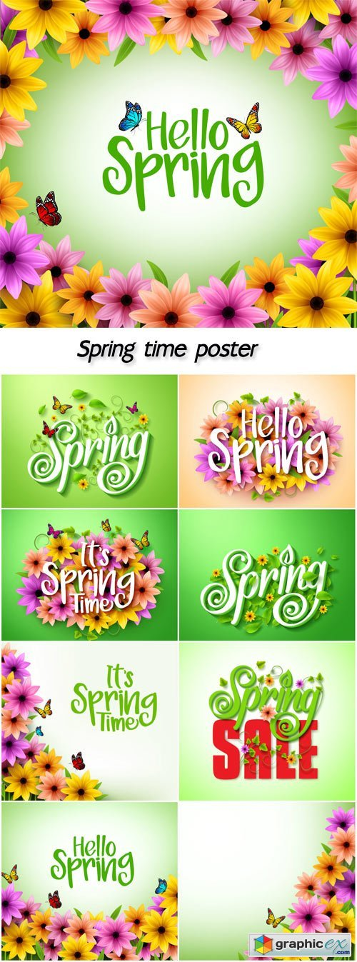 Spring time poster design in realistic 3D colorful vector