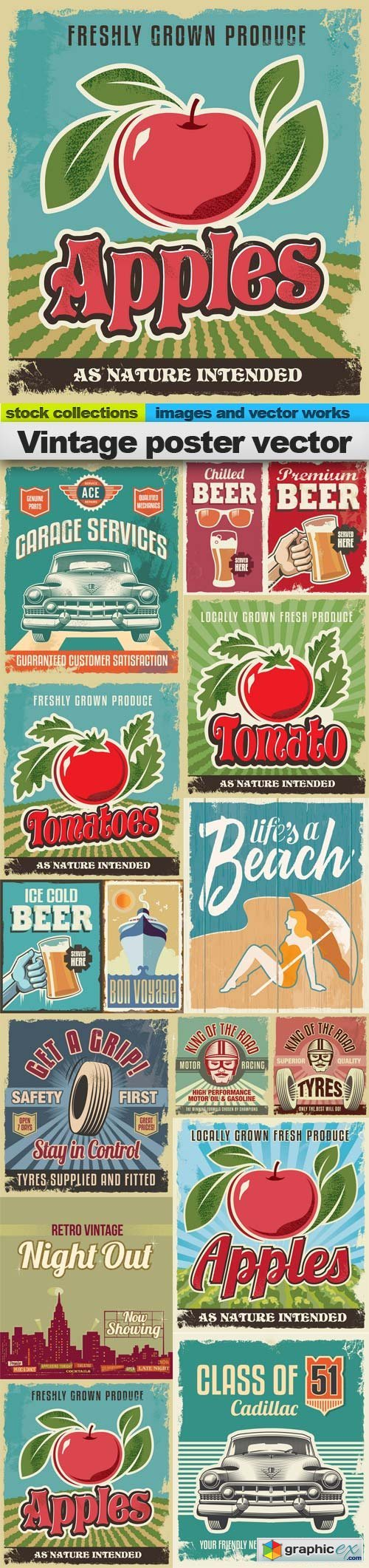 Vintage poster vector, 15 x EPS