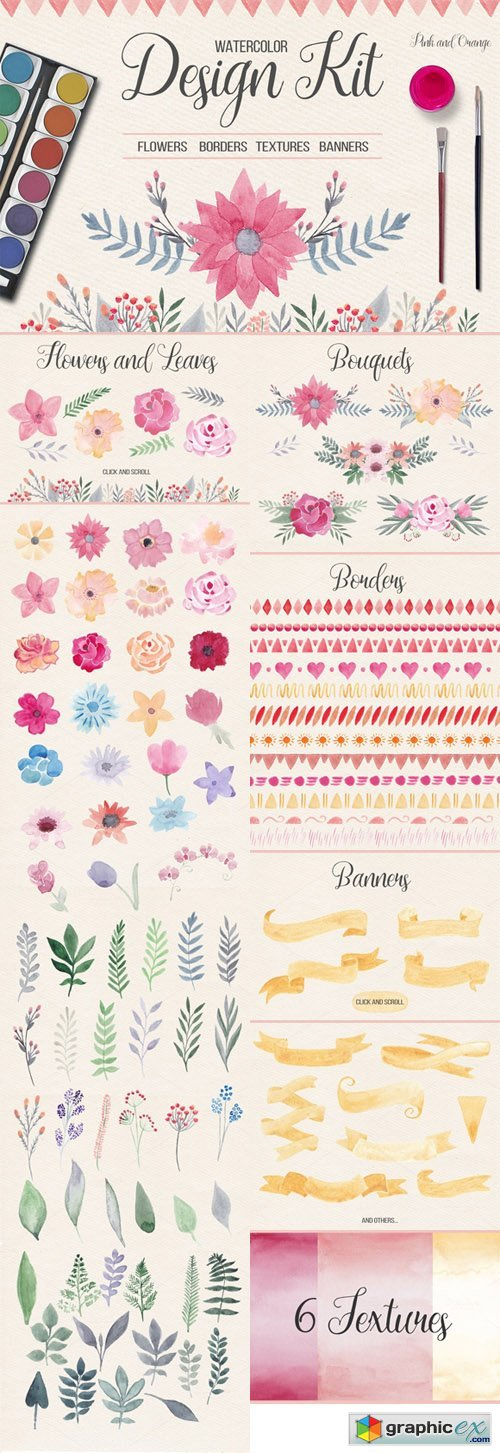Watercolor Design Kit. Pink & Orange