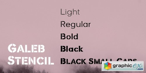 Galeb Stencil Font Family 5 Fonts
