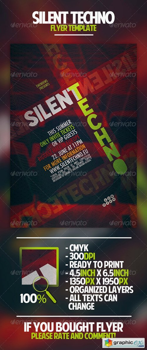 Silent Techno Flyer Template
