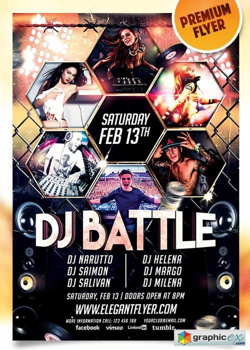 Dj Battle Flyer PSD Template + Facebook Cover