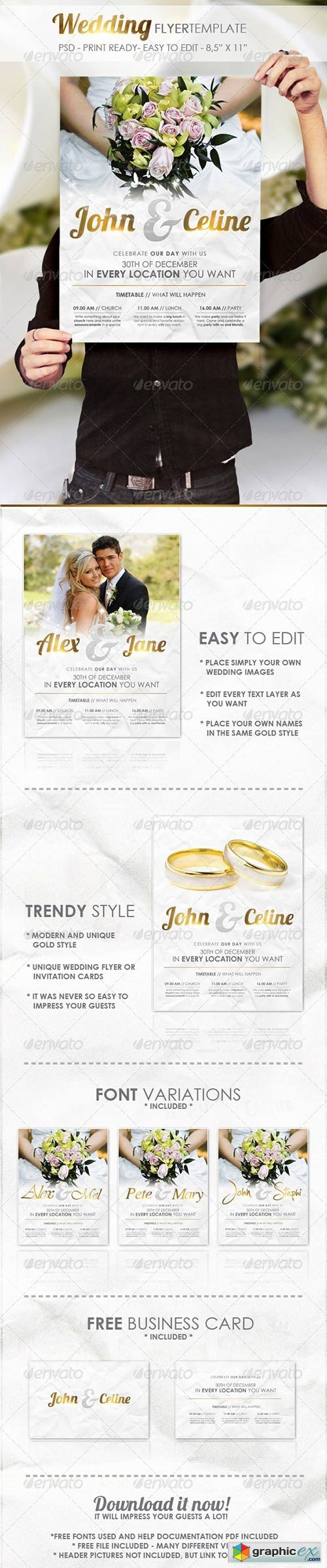 Wedding Flyer Template Free Download Vector Stock Image