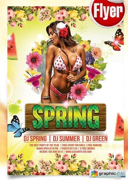 Spring Flyer PSD Template + Facebook Cover