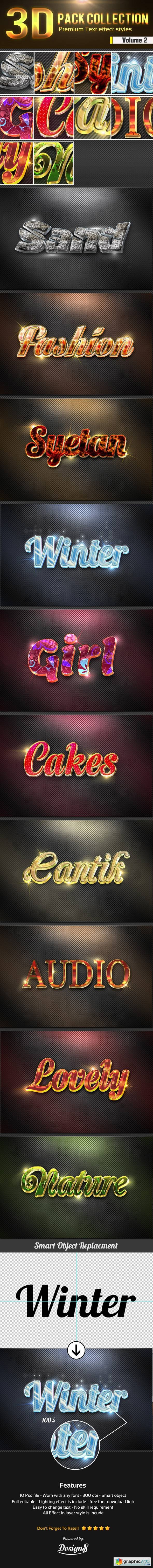 New 3D Photoshop Text Effect Style Vol 2