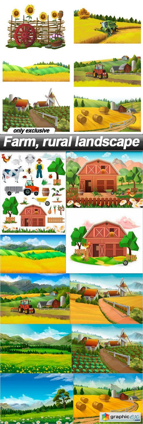 Farm, rural landscape - 11 EPS