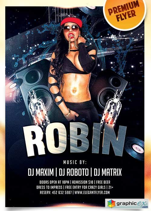 Dj Robin Flyer PSD Template + Facebook Cover