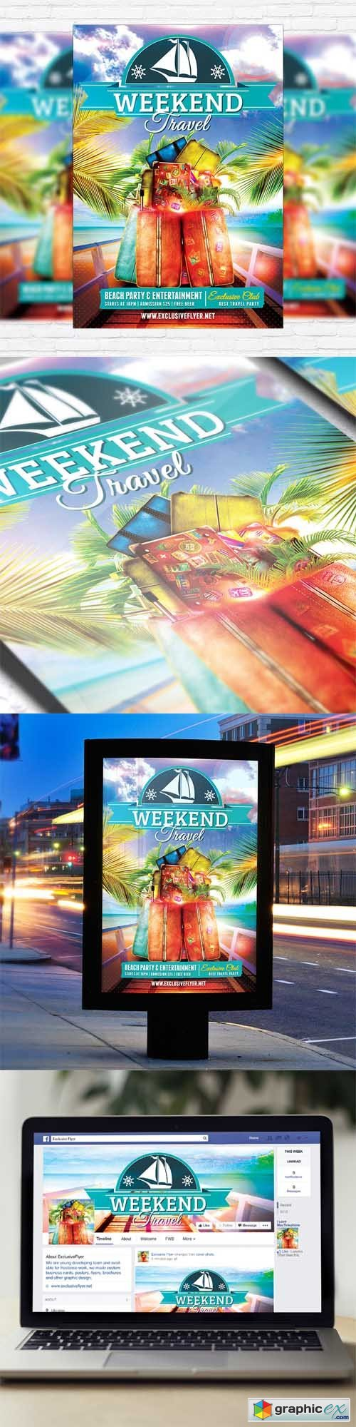Travel Weekend - Flyer Template + Facebook Cover