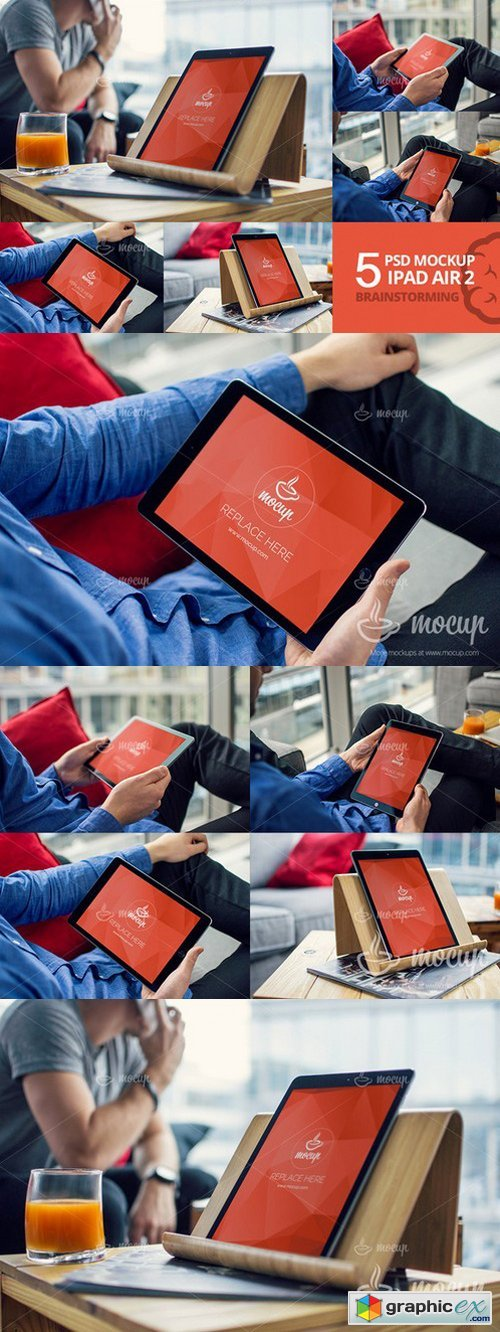 5 PSD Mockup iPad Air Brainstorming