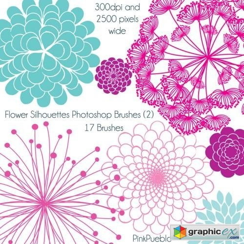 Flower Silhouettes Photoshop Brushes » Free Download Vector