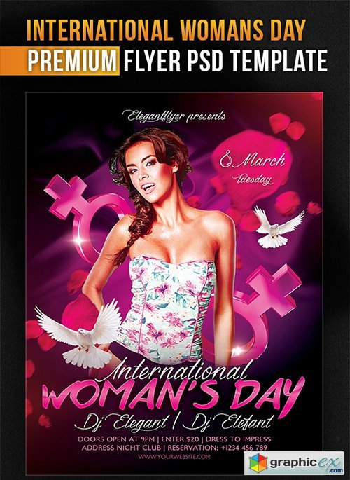 International Womans Day Flyer PSD Template + Facebook Cover