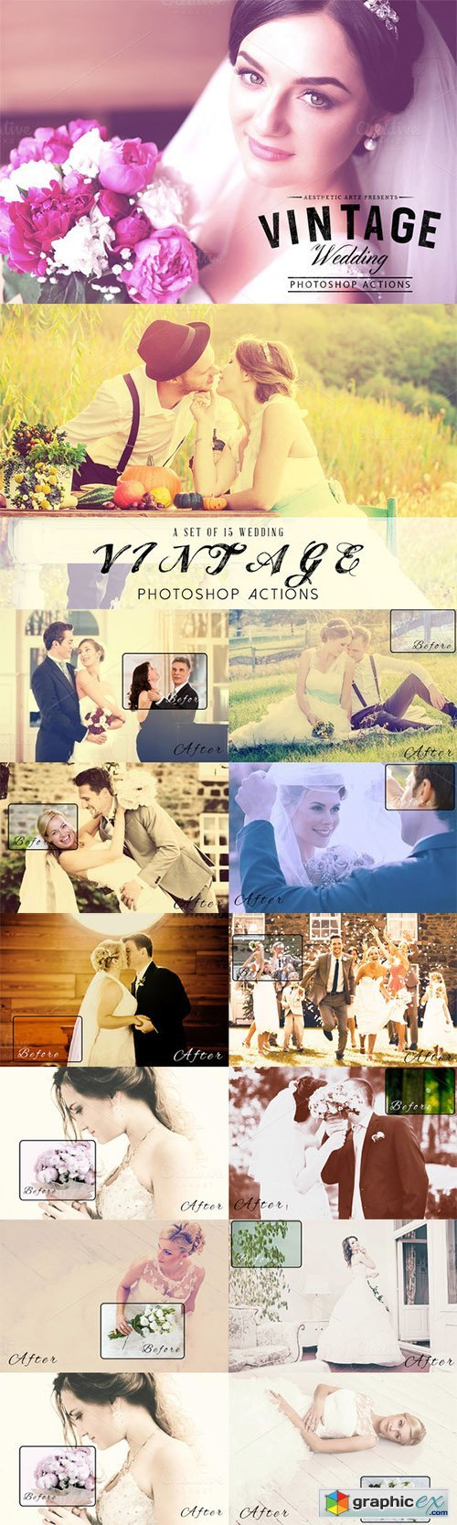 Aesthetic Vintage Wedding PS Actions