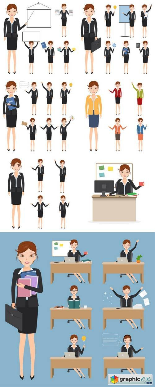 Set of Business Woman Character at Office Work