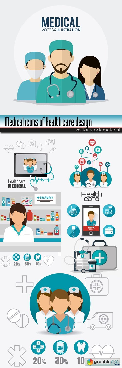 Medical icons of Health care design