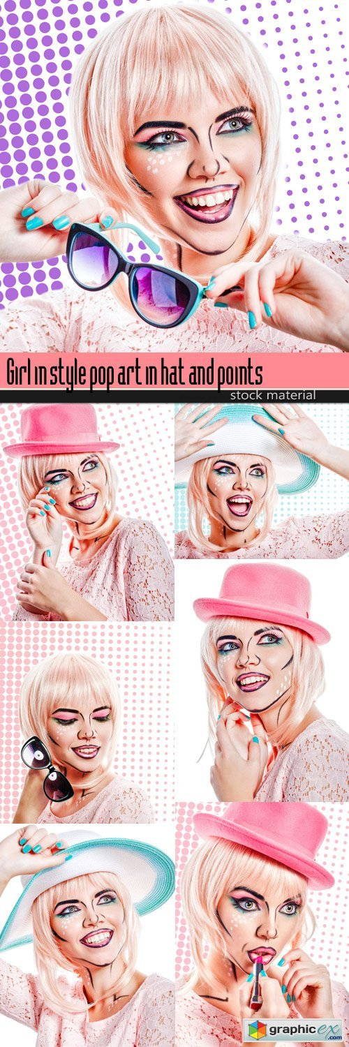 Girl in style pop art in hat and points